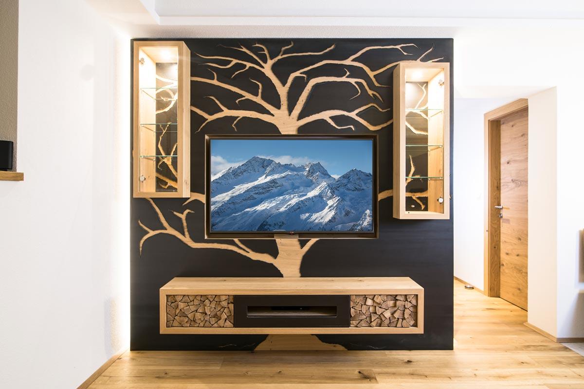 Innovative Charakterwohnung Wohnzimmerwand